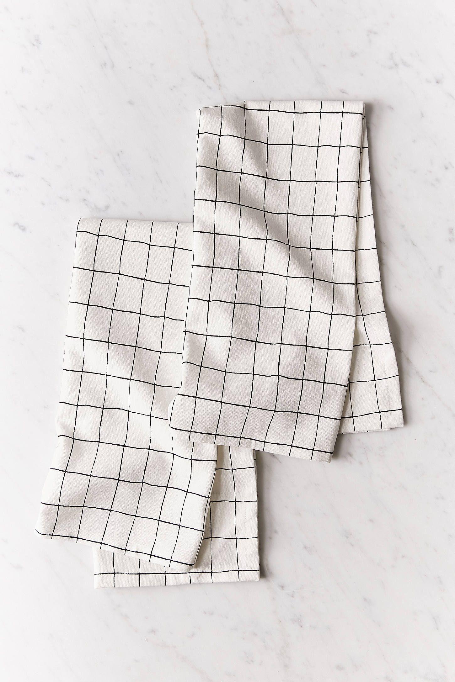 Wonky Grid Dish Towel Set Panos De Prato Pano Minimalista