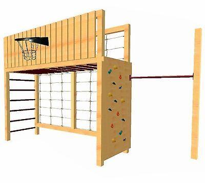 Loggyland Klettergerust Basketballkorb Kletternetz Reckstange Hangelgerust Holz Backyard Playset Backyard For Kids Play Houses