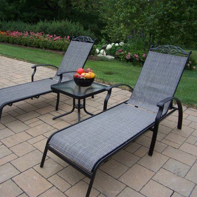 Oakland Living Cascade Sling 3 Piece Chaise Lounge Set ... on Living Accents Sling Folding Chaise id=64513
