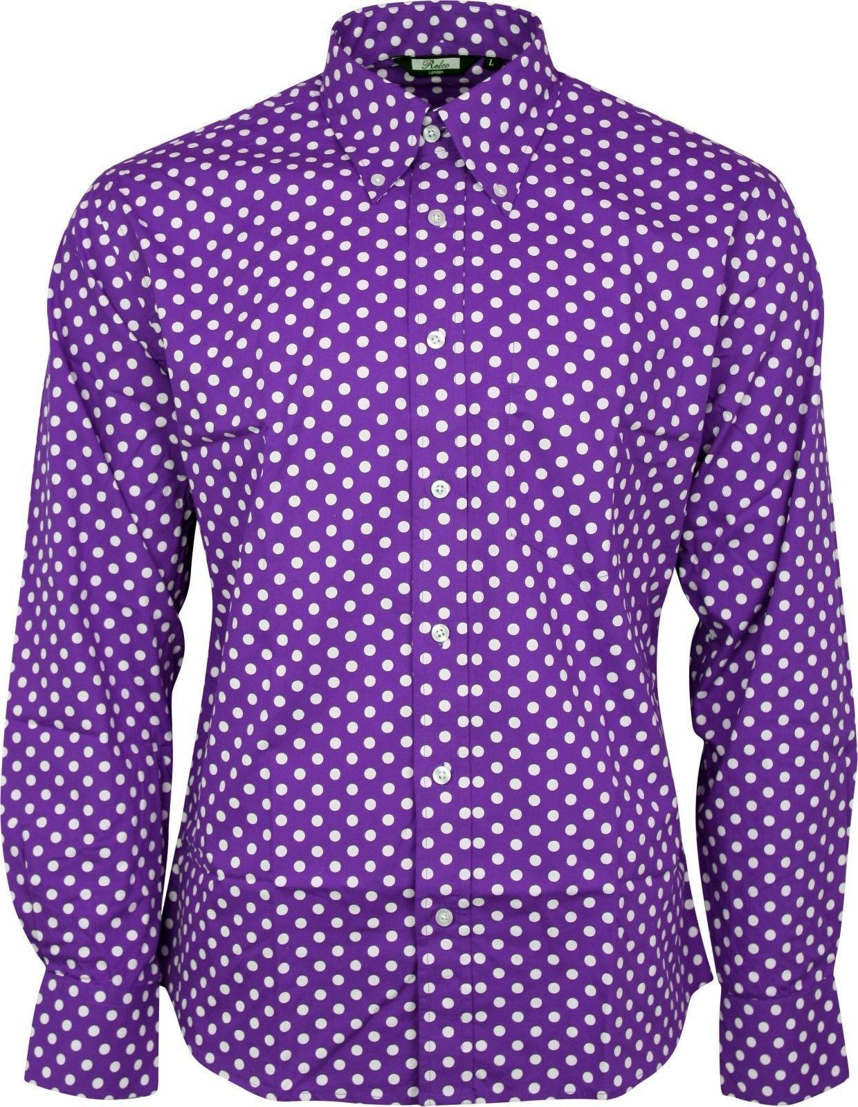 d6d7bb943f17 Relco Mens Purple & White Polka Dot Long Sleeved Shirt Mod Skin Retro Indie  60S
