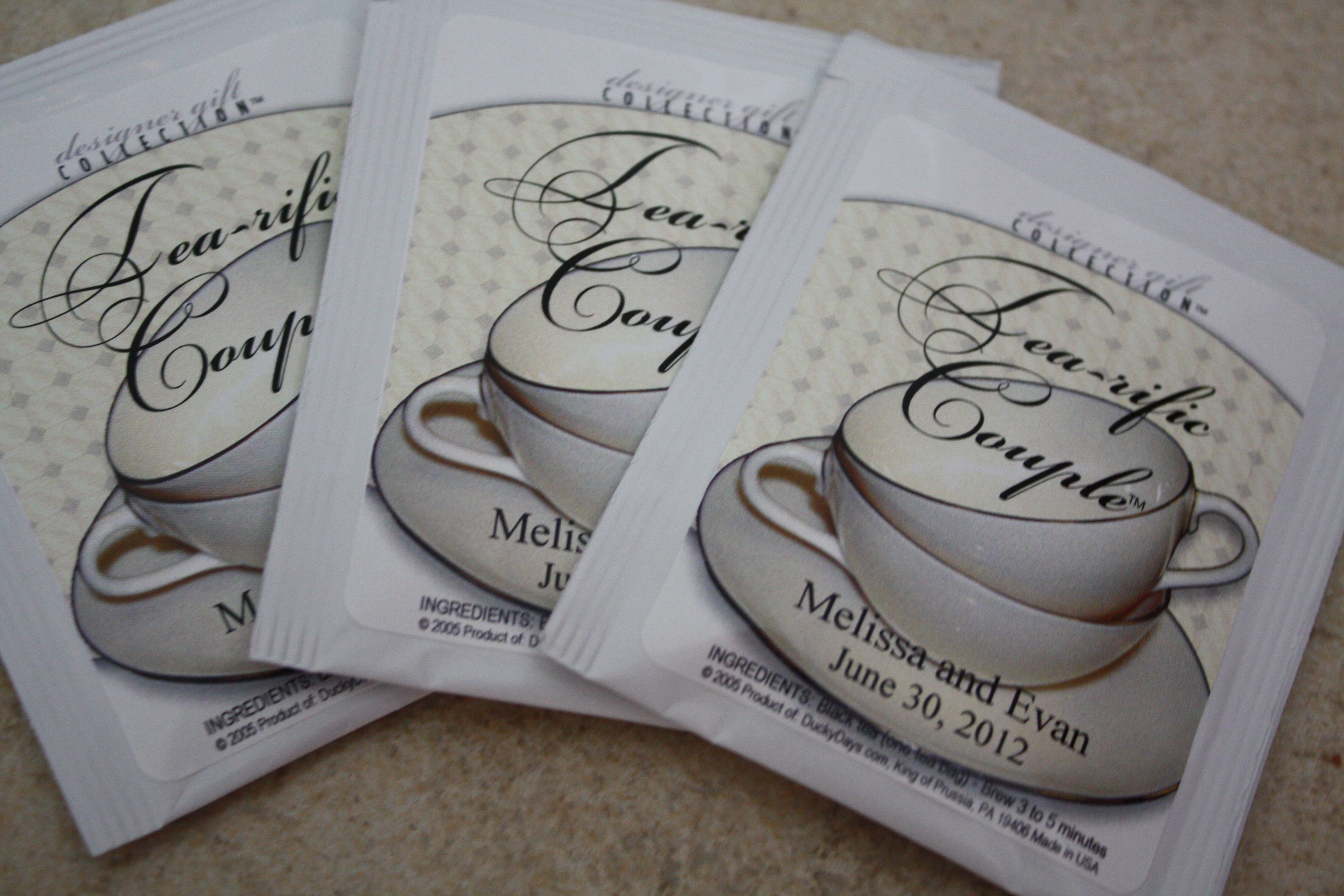 """tea-rific couple"" teabags are a great giveaway for any bridal shower."