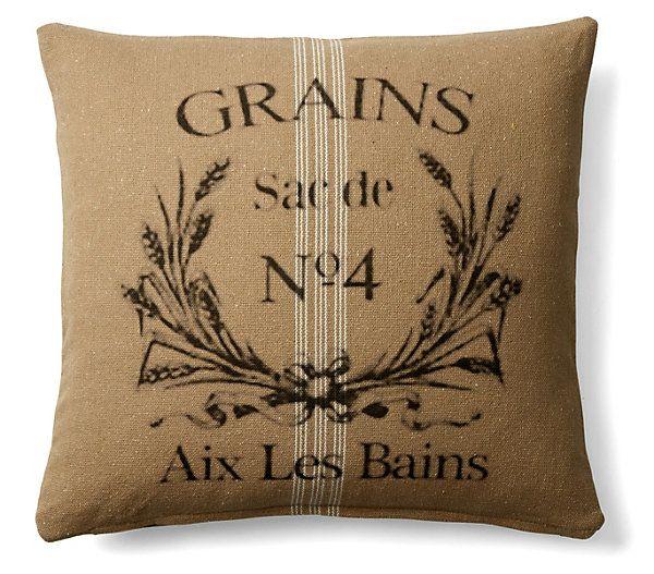 One Kings Lane - Tour de France - Grain Sac 20x20 Cotton Pillow, Natural