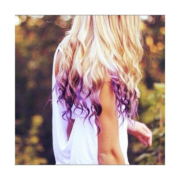 Purple hairtips. Cute idea. :) ❤ liked on Polyvore featuring accessories, hair accessories, hair and purple hair accessories