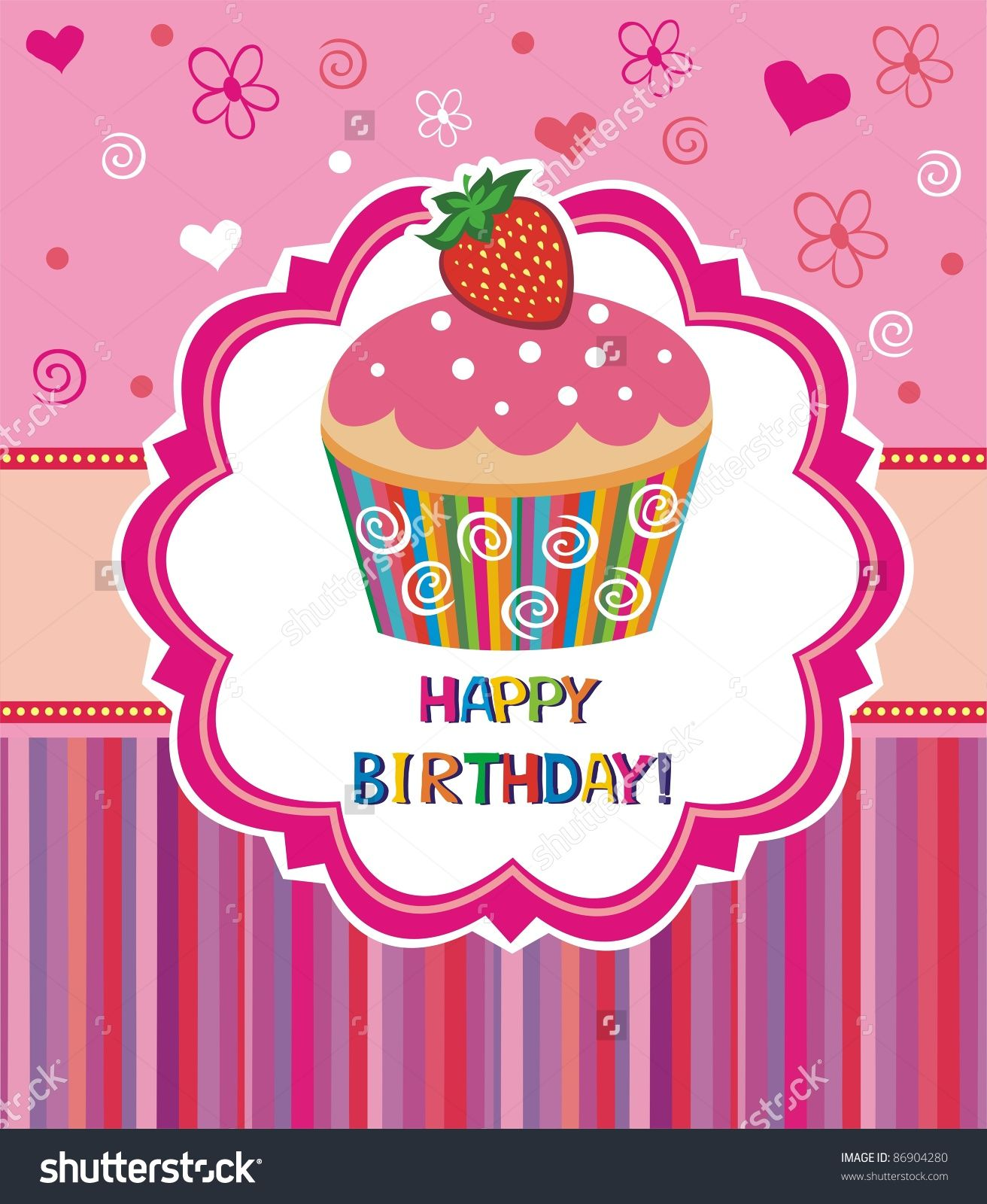 Happy Birthday Card. Illustration Of Cute Cupcake