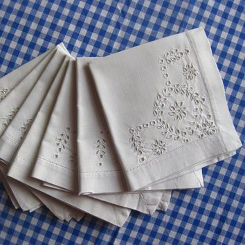 Vintage Linen Napkins Set of Seven White with Embroidery