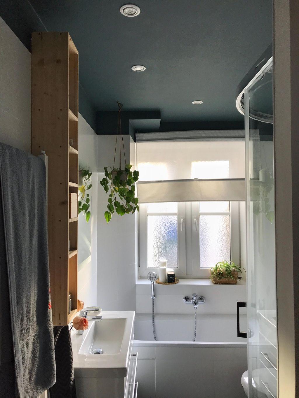 Bad Dunkledecke Farbeimbad Kleinaberfein Minibad Dunkle Decke Badezimmer Streichen Badezimmer Klein