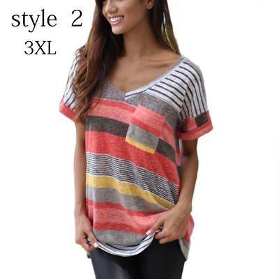 c03398158634 Women Plus Size Summer Short Sleeve T-shirt Loose Irregular Striped V Neck  Tops
