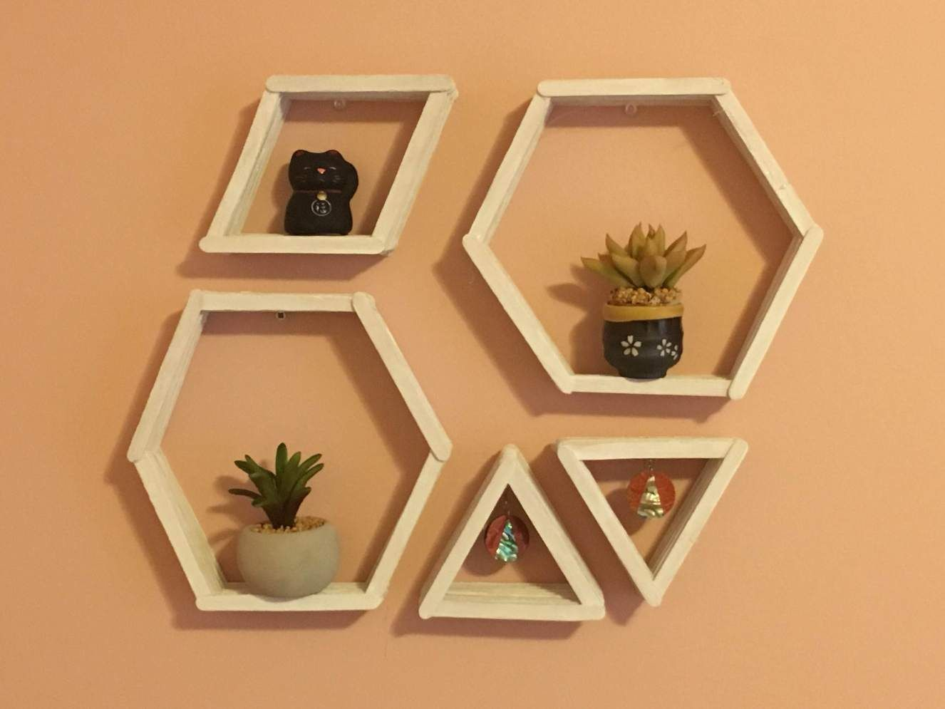 Diy Geometric Wall Shelves Popcycle Stick Crafts Diy Popsicle Stick Crafts Craft Stick Crafts