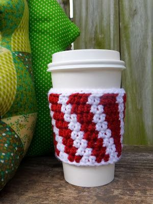 Strung Out Fiber Arts: Candy Cane Coffee Cozy | Crochet | Pinterest