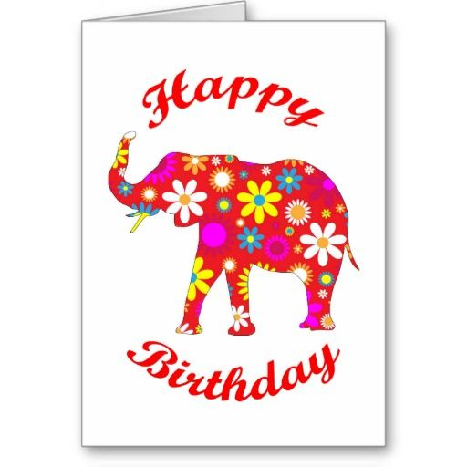 Happy Birthday Elephant Funky Greeting Card Zazzle Com In 2021 Happy Birthday Elephant Elephant Birthday Happy Birthday Greetings