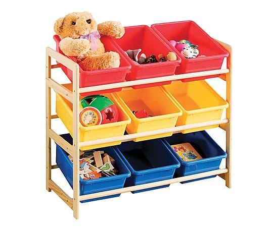 Mobili Portagiochi Per Bambini : Scaffale portagiochi con 9 contenitori in legno e plastica 65x30x65