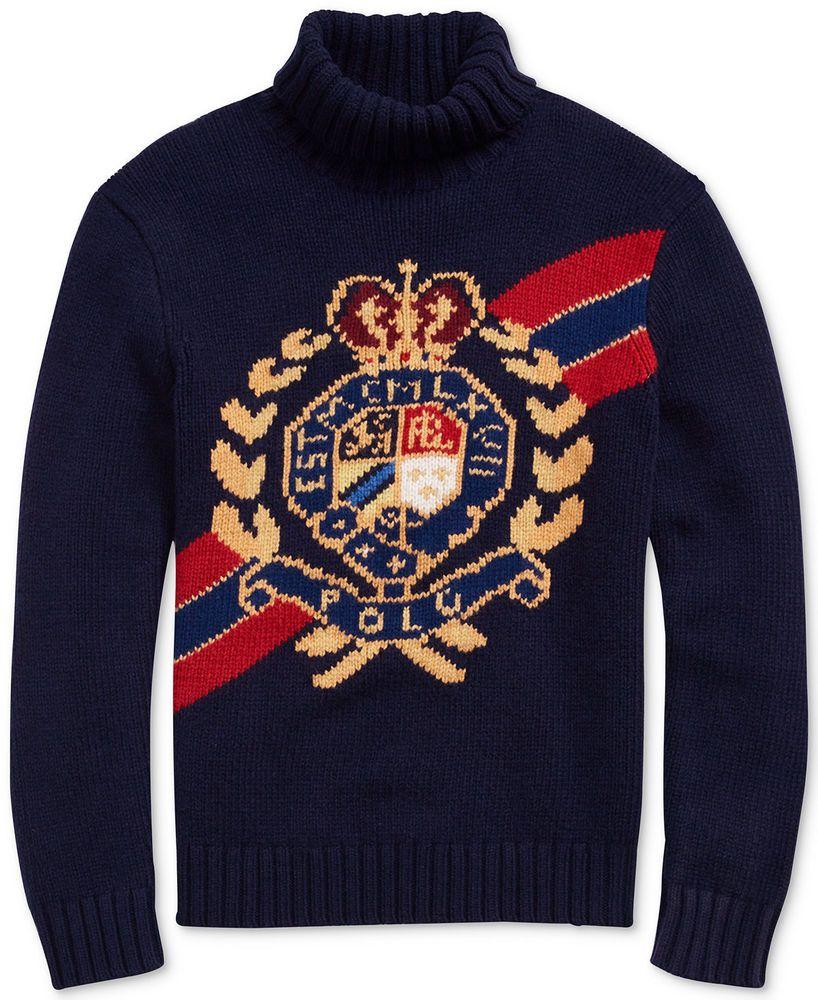 Lauren Ski Vintage Polo Turtleneck Ralph Crest Stadium Sweater Men PnOw8k0