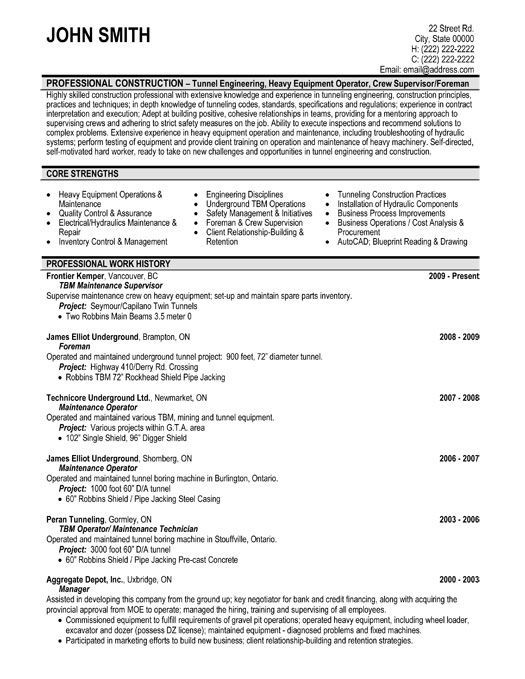 Construction Site Supervisor Resume Template Premium Resume