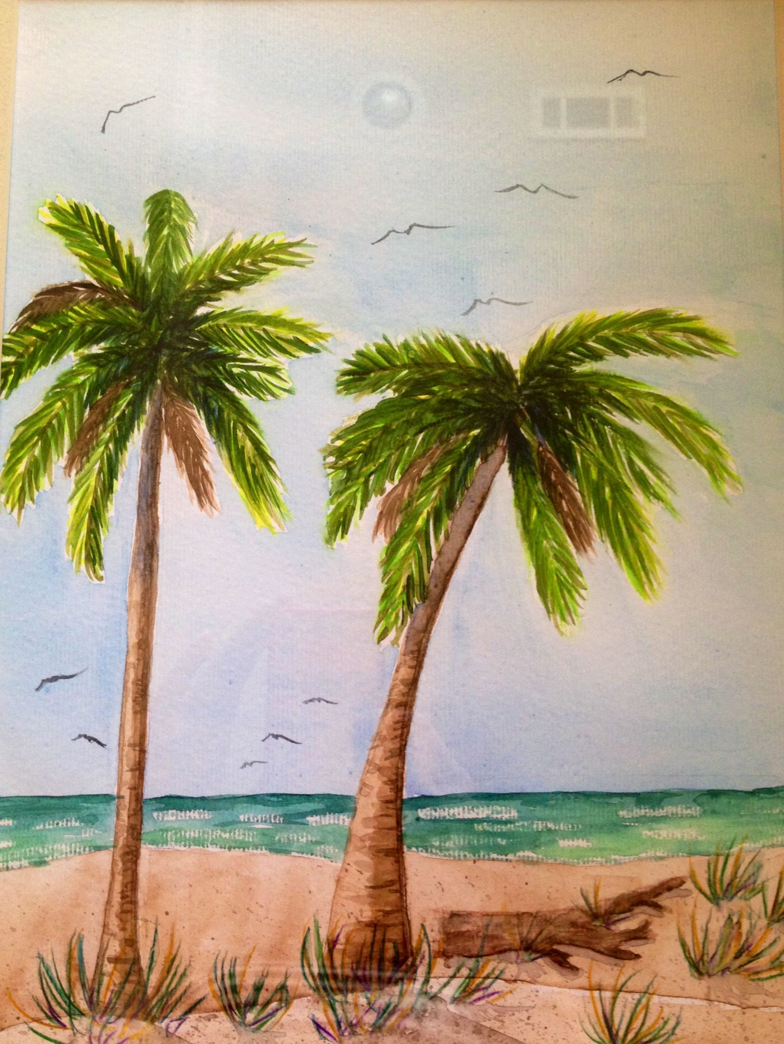 palm tree watercolor - photo #4