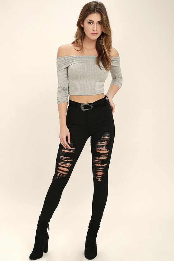 6c6790989ce763 ... Praiseworthy Grey Off-the-Shoulder Crop Top will be well deserved!  Soft