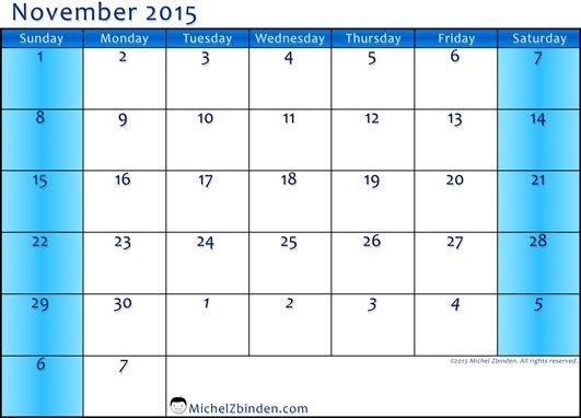 Feel Free To Download November  Calendar Excel And November