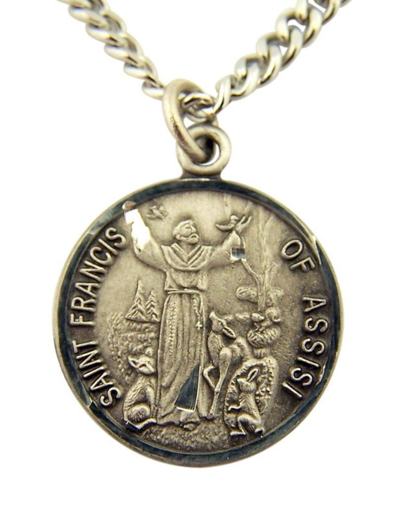 Pewter Saint Francis of Assisi Medal with Bright Cut Accents, 7/8 Inch. Medal - Pewter - 7/8 Inch (Dia). Comes on 24 inch endless stainless steel chain. Comes gift boxed.
