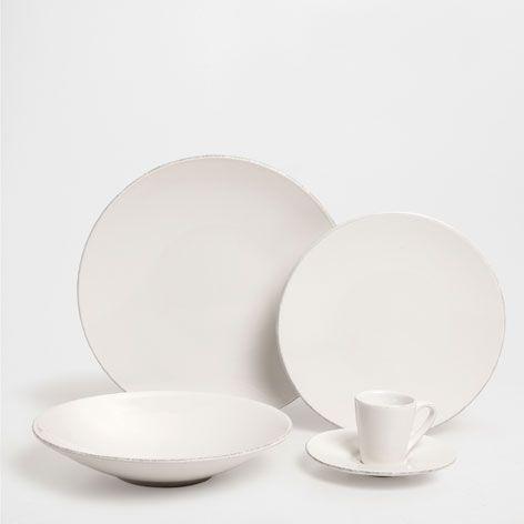 Vajilla loza blanca efecto envejecido vajilla mesa - Vajillas zara home ...