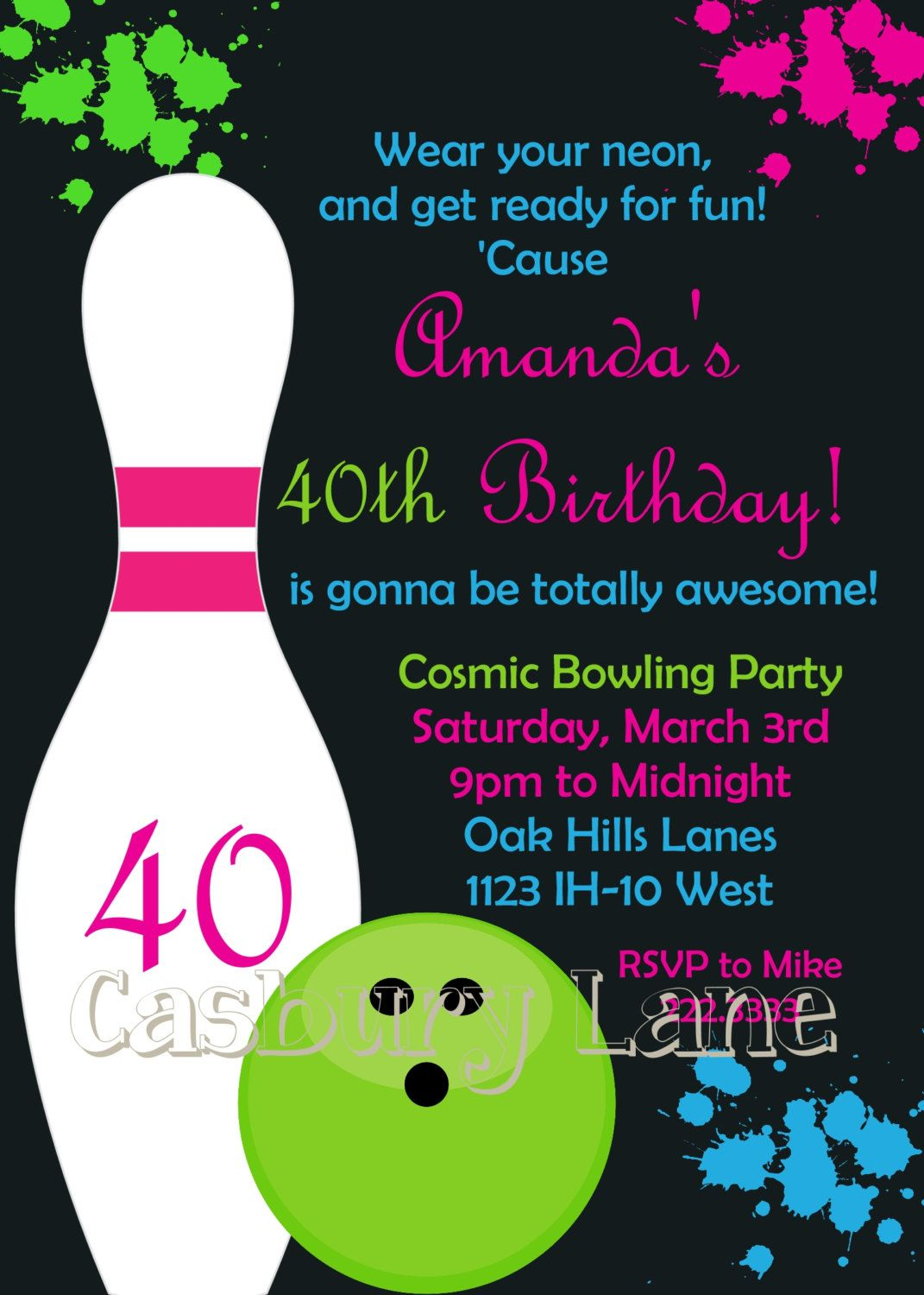 Printable Invitation NEW Cosmic Bowling Collection Little
