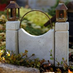 Miniature Cement Gate and Lamp Posts