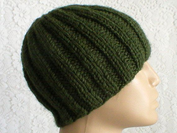 f21eeb9106e Khaki army green ribbed beanie hat mens womens green knit hat green ...