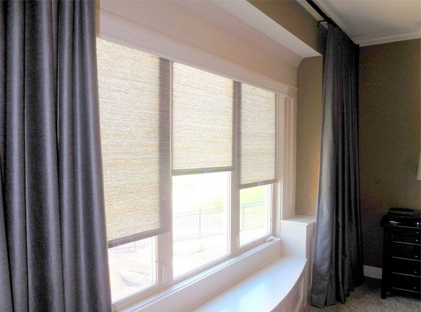 Soft Roller Shades And Blue Ds In Master Bedroom
