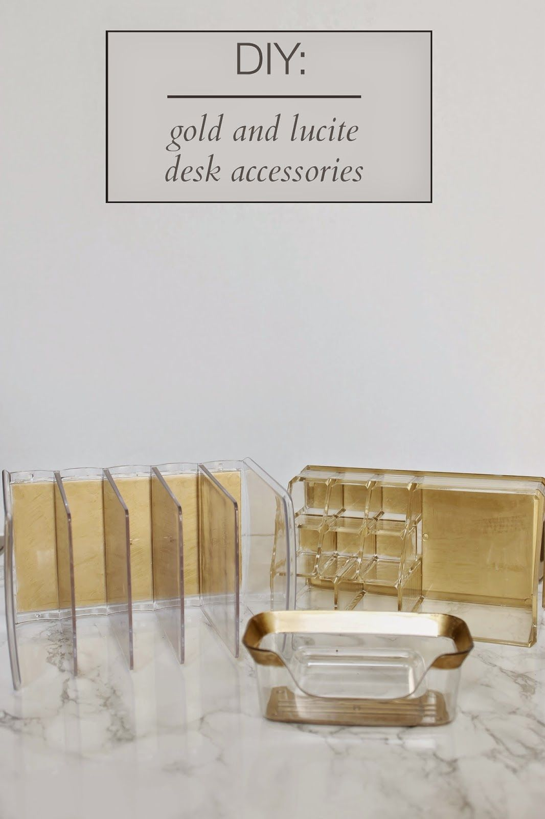 DIY FILES Gold and Lucite Desk Accessories Burlap Lace