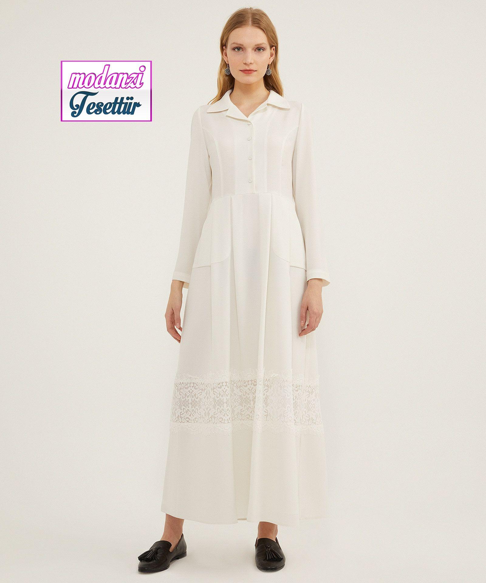 Aker Dantelli Ekru Elbise Aker Sonbahar Elbise Modelleri Ve Fiyatlari 2020 Elbise Giyim Elbise Modelleri