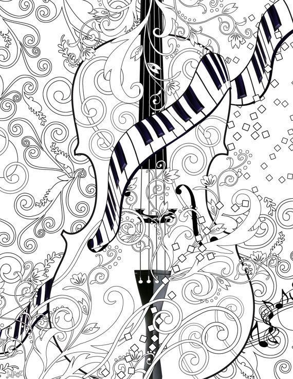 Adult Coloring Page Printable Violin Poster Instant