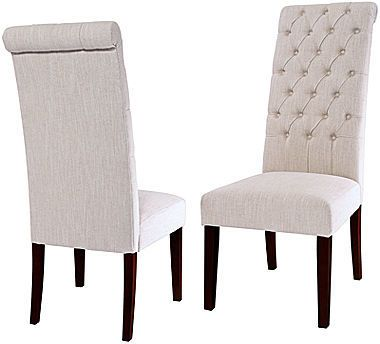 Milana Set Of 2 Tufted Roll Top Dining Chairs Gray Dining Chair