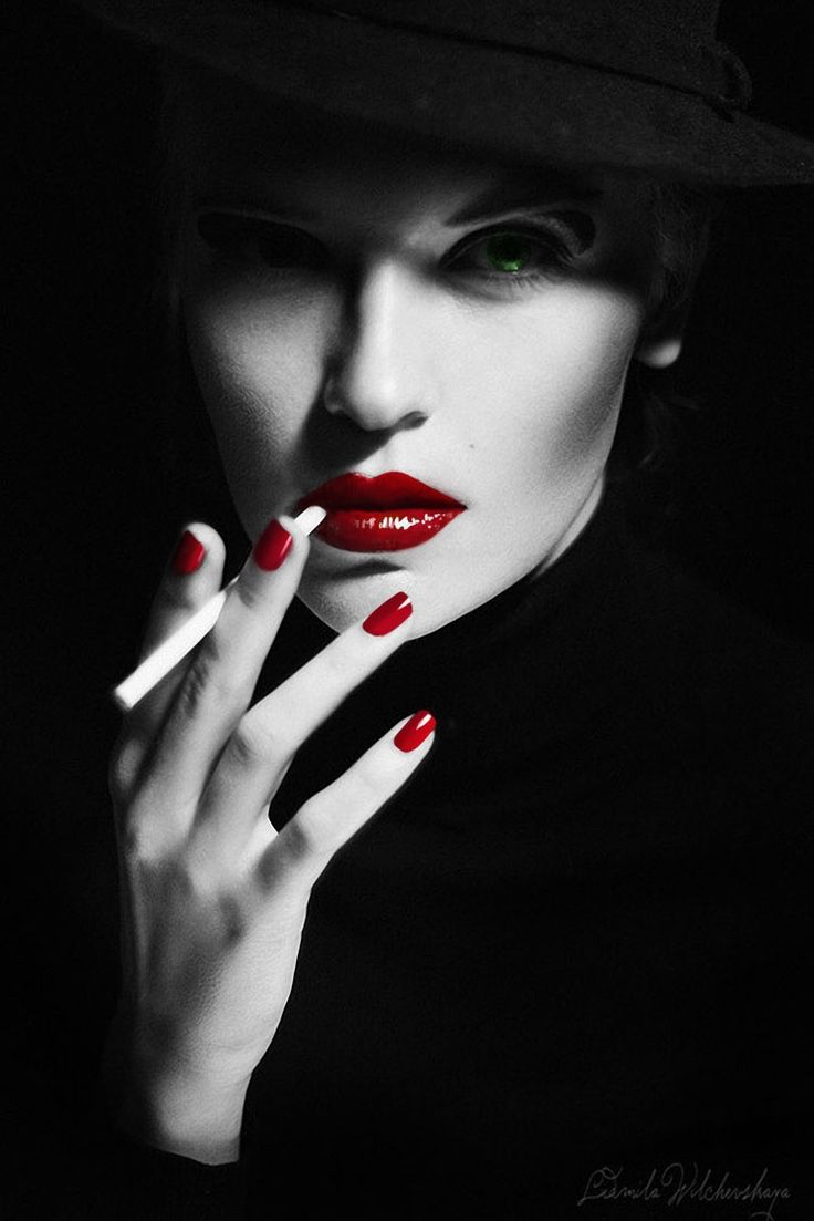 Woman Chic Red Lips Selective Color Femmefatale Enio Godoy