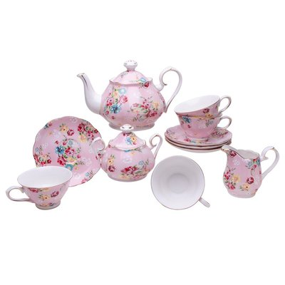 Dollhouse Miniature Pink Floral Petite Rose Tea Set for 2
