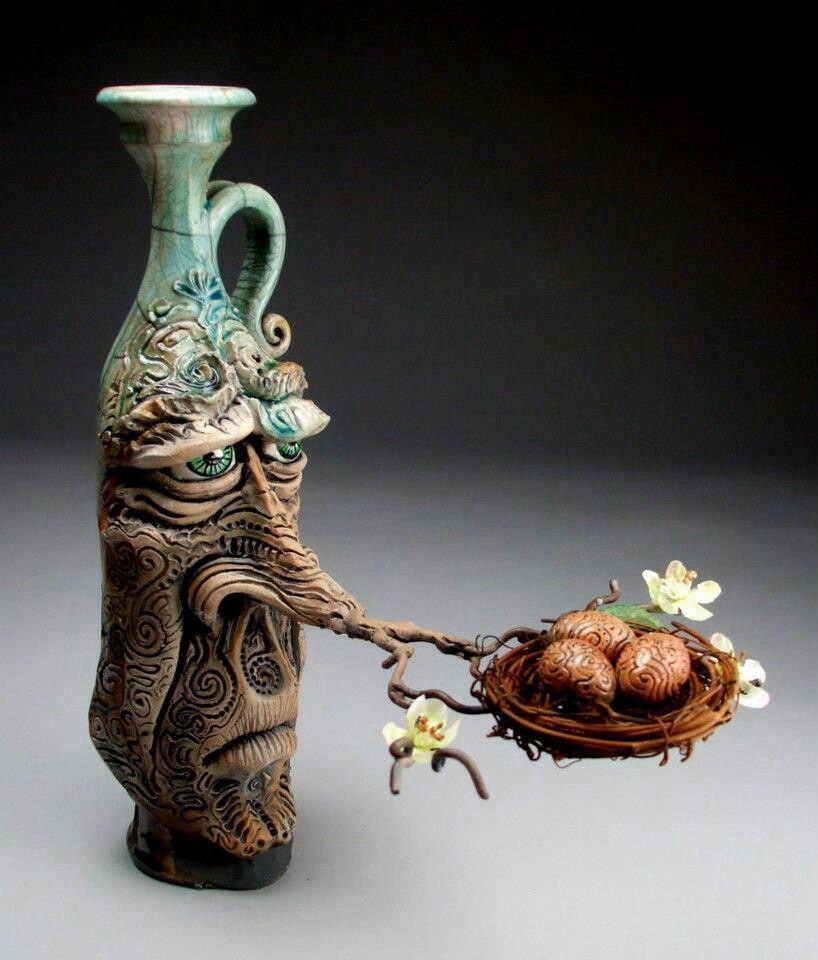 New Life Face Jug pottery raku folk art sculpture by Mitchell Grafton