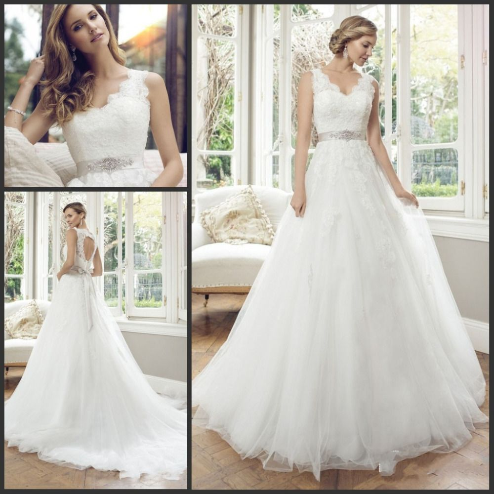 Click to buy ucuc vestidos de noiva v neck open back sleeveless bride