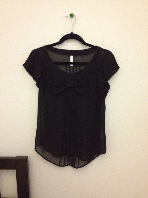 Black Sheer Top With Bow - $26