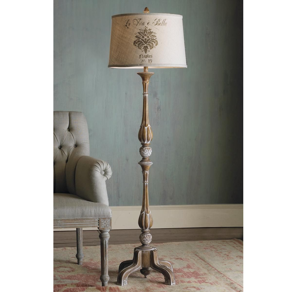 62 french provincial pickled wood floor lamp with for Floor lamps for living room