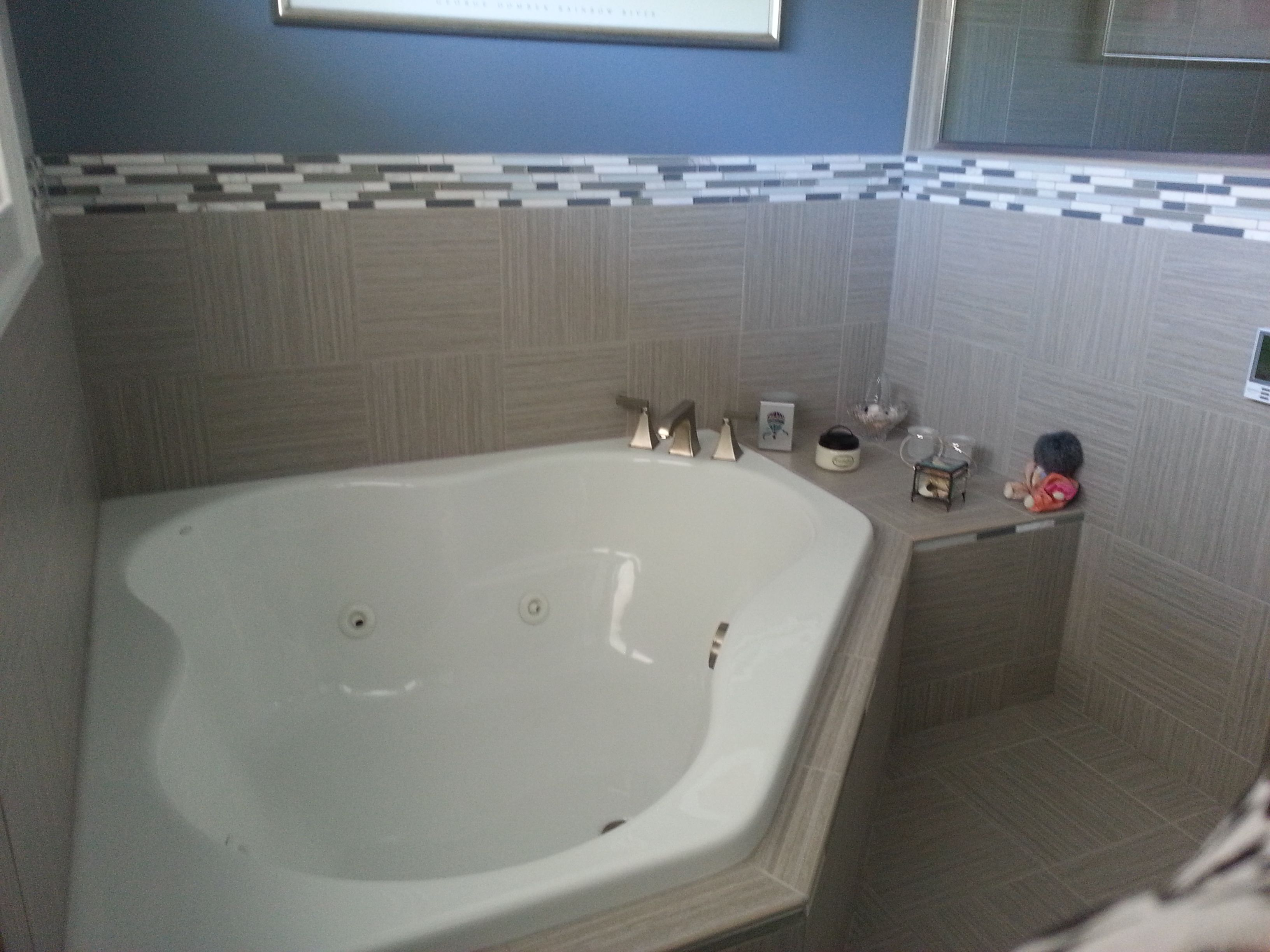 Bath surround: American Olean Ash Taupe 12x12 with 21st Century ...