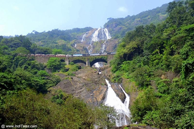 Dudhsagar Waterfalls With Iconic Train Passing Scene Goa Points Of Interest Pinterest
