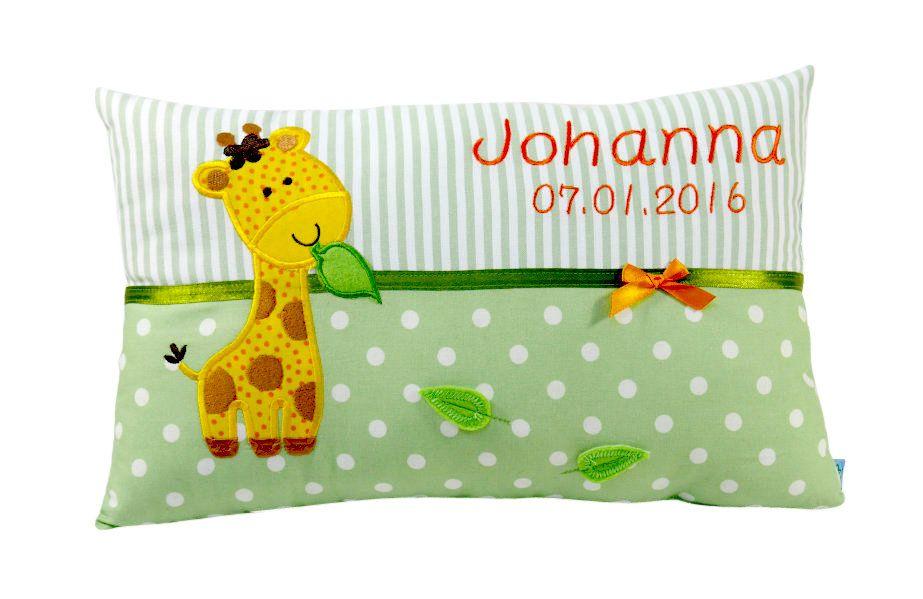 Namenskissen Giraffe Fur Jungen Und Madchen Kissen Zur Geburt Personalisierte Kissen Kinder Kissen