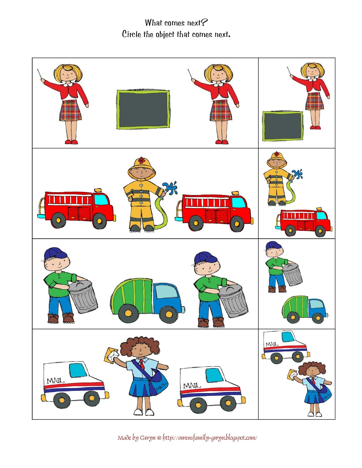 Community Helpers Worksheet Math