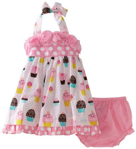 f578558de Rare Editions Baby-girls Infant Dot and Cupcake Print Birthday Dress ...