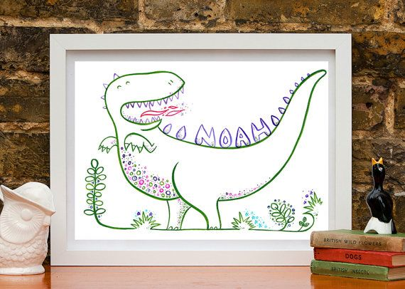 Personalised Kids Name Art A4 Dinosaur Nursery print on Etsy, $33.92