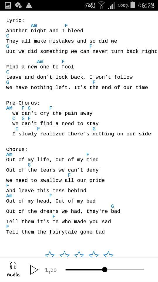 Fairytale Gone Bad Sunrise Avenue Ii Lyrics And Chords