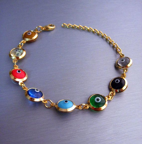 Perles Multicolore Evil Eye turc Nazar & Mati par CHRISTIELORRAINE, $14.00