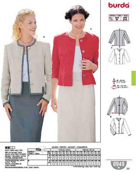 De Pinterest Couture Patrons Pattern 8949 Veste Burda Patron dqBYUd