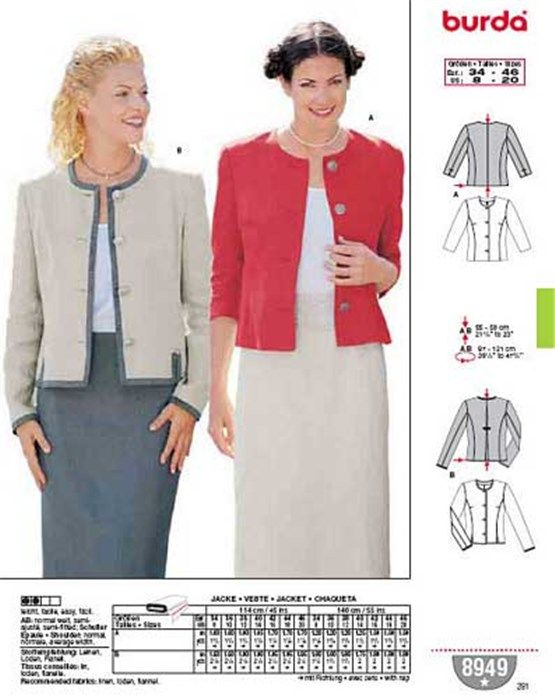 Patron burda femme robe veste couture