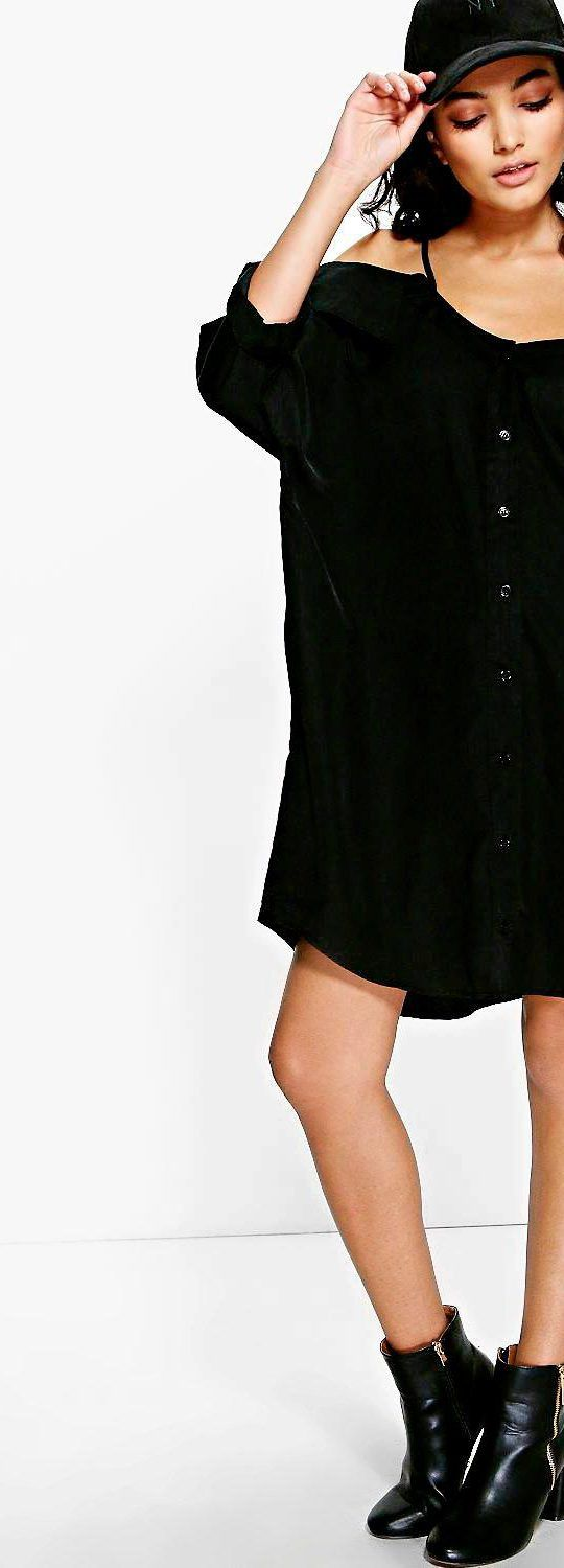 Selena Cold Shoulder Collar Shirt Dress - Dresses  - Street Style, Fashion Looks And Outfit Ideas For Spring And Summer 2017