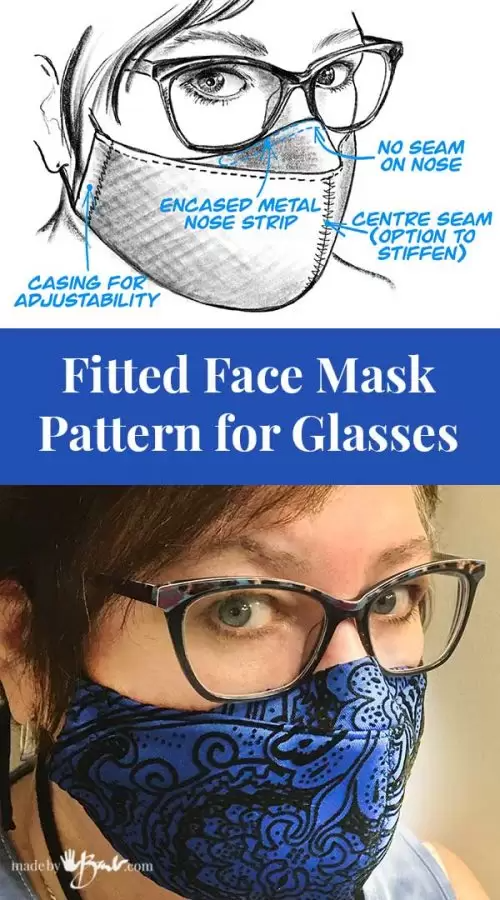 Fitted Face Mask Pattern for Glasses Made By Barb free