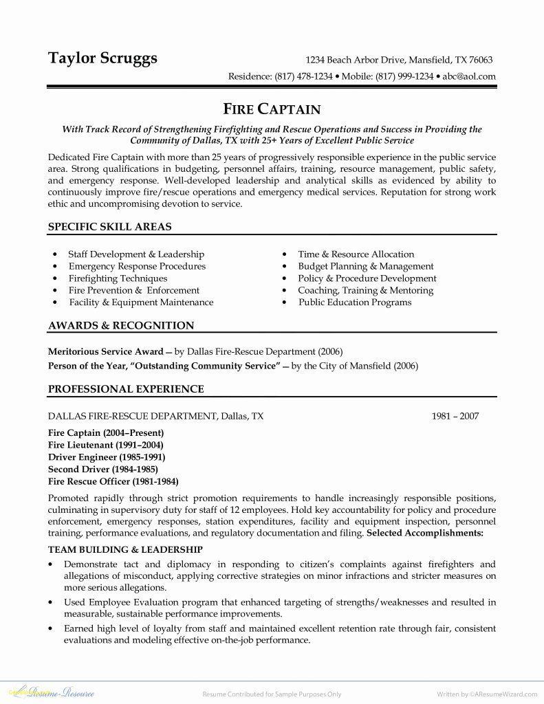 Entry Level Firefighter Resume Awesome 10 Firefighter Resume Objective Statement In 2020 Firefighter Resume Cover Letter For Resume Resume Examples