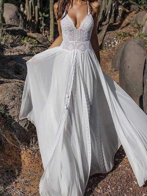 Lace V Neck Flared Backless Two Pieces Maxi Dress